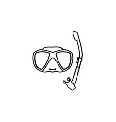 mask and snorkel for swim in pool hand drawn icon vector image