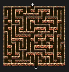 Maze 3d labyrinth with brick stone walls vector