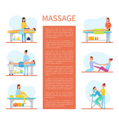 Medical massage room cartoon sample banners text vector