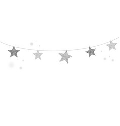 Merry christmas background with silver stars vector