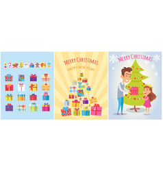 Merry christmas postcards set piles gift boxes vector