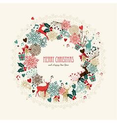 Merry Christmas vintage wreath card vector image