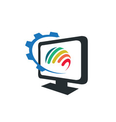 monitor screen computer with colorful rainbow vector image