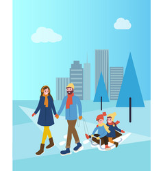 mother and father with children on sledges in park vector image