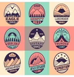 Mountain badge set2color1 vector image