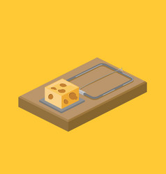 mousetrap and cheese isometric vector image