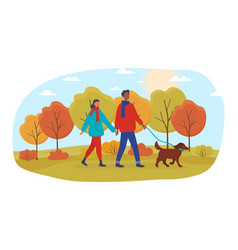 Multiracial couple with dog in an autumn park vector