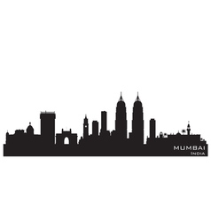 Mumbai India skyline Detailed silhouette vector
