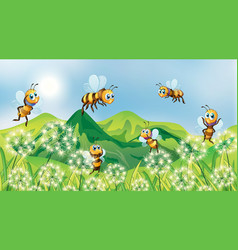 Nature scene background with bees flying in garden vector