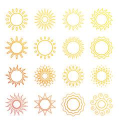 orange line sun icons vector image