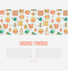 organic farming concept with thin line icons vector image