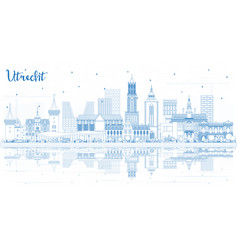 Outline utrecht netherlands city skyline with vector