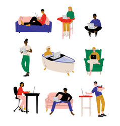 people with laptop set young men and woman vector image