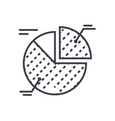 pie chart line icon sign on vector image
