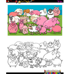 pigs and sheep characters group color book vector image