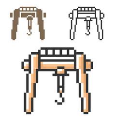 Pixel icon gantry crane in three variants vector