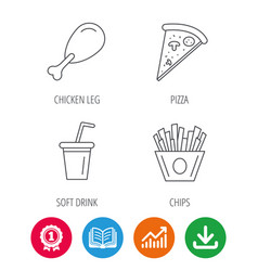 Pizza pizza and soft drink icons vector