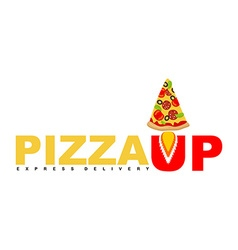 Pizza Up logo for pizza delivery Fast shipping vector