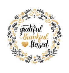Poster with grateful thankful blessed vector