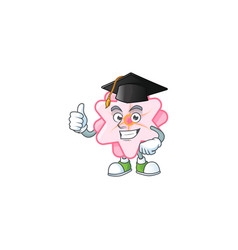 Proud chinese pink flower wearing graduation hat vector