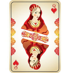 Queen hearts from a pack playing cards vector