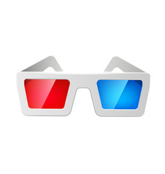 Realistic cinema 3d glasses red and blue vector