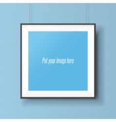 Realistic square picture frame on the wall vector image