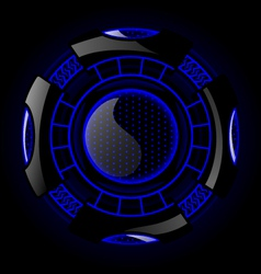 Round Futuristic Design With Black And Blue Color vector image