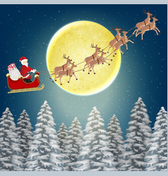 santa claus with reindeer fly over pile forest vector image