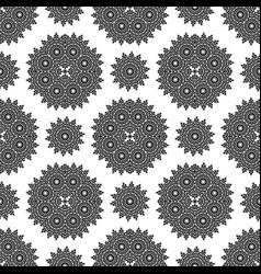 Seamless black white mandala pattern vector