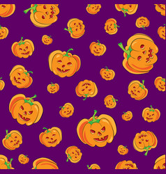 Seamless halloween pattern with cartoon vector