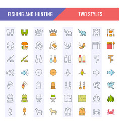 Set flat line icons fishing and hunting vector