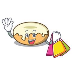 Shopping donut with sugar character cartoon vector