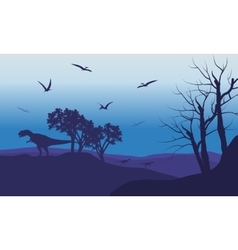 Silhouette of Pterodactyl and Allosaurus vector