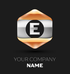 Silver letter e logo in silver-golden hexagonal vector