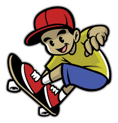 Skater boy playing skateboard vector