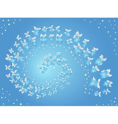 Spiral of flying butterflies on a blue vector