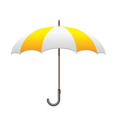 Striped white and yellow Umbrella Care and vector image