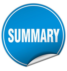 Summary round blue sticker isolated on white vector
