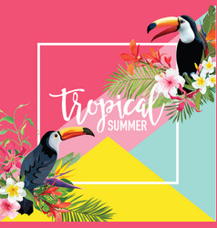Tropical flowers and toucan birds summer banner vector