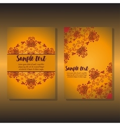 Two design of holiday floral card vector image