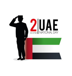 Uae flag and soldier to celebrate national day vector