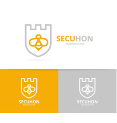 unique shield and bee logo combination design vector image