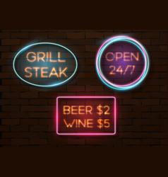 Vintage neon banner template vector