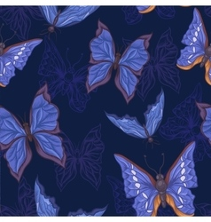 Vintage Seamless Pattern with Blue Butterflies vector