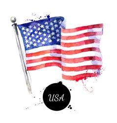 Watercolor usa flag hand drawn flag america on vector