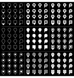 White map pins sign icon on black background vector