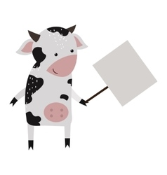 Wild animal cow strike with clean plate board vector image