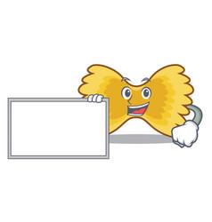 with board farfalle pasta character cartoon vector image