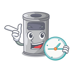 With clock cartoon steel trash can in the door vector